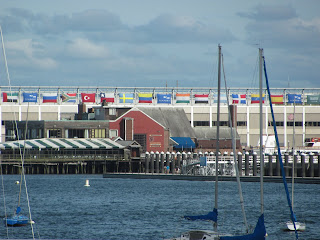 Indian flag on Boston port