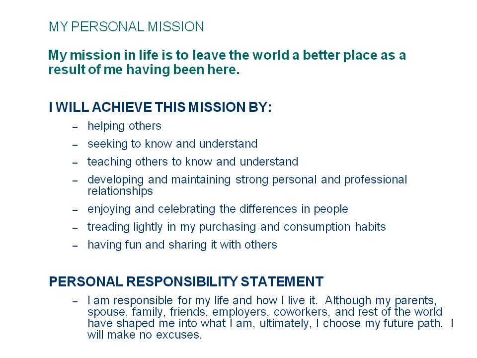 Personal Commitment Statement Example Of Resume Mission Statements