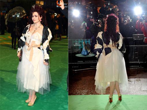 d9a12d86830a Lato A e lato B dell attrice Helena Bonham Carter che indossa un originale  vestito che ne identifica la personalità. La moglie di Tim Burton nel suo  ultimo ...
