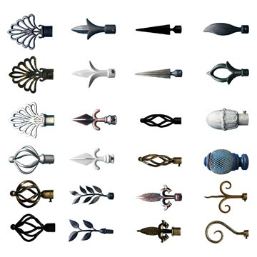 decorative drapery hardware custom curtain rods drapery finials - Decorative Curtain Rods