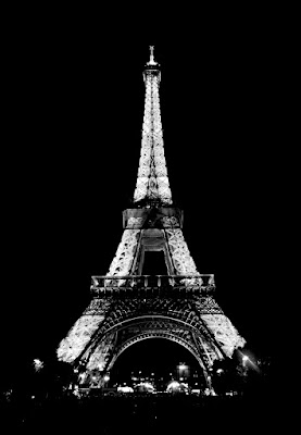SKYBAG: Black & White Eiffel Tower at night
