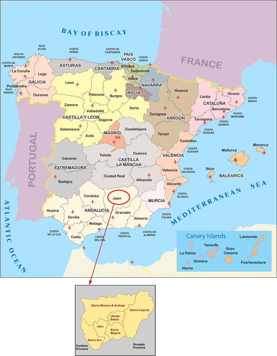 Map Of Spain Jaen.International Study Of Re Regions Province Of Jaen Spain