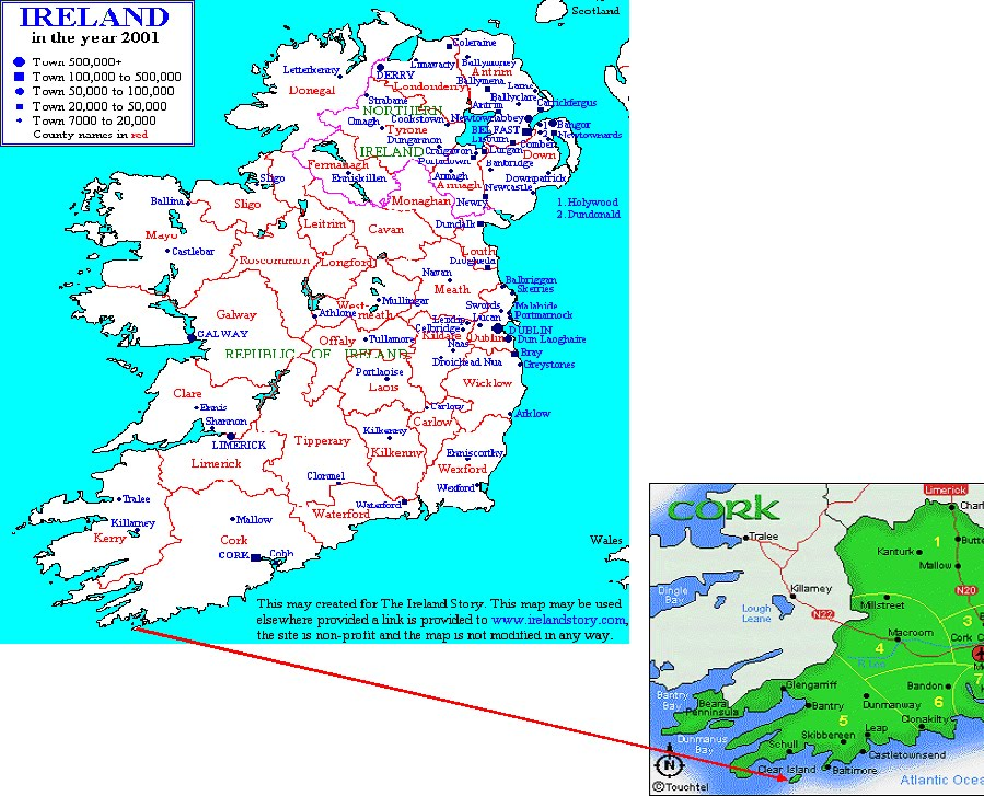Islands Of Ireland Map.International Study Of Re Regions Cape Clear Island Cork County