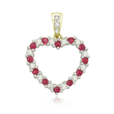 Diamond Ruby Heart Pendant