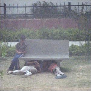 Ihmiset suojautuvat pölymyrskyltä Intian Delhissä