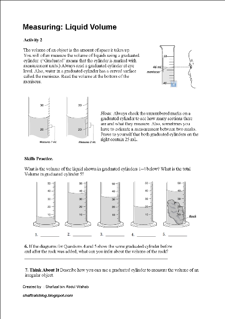 Shafizal S Blog Activity 2 Measuring Volume Of Liquid