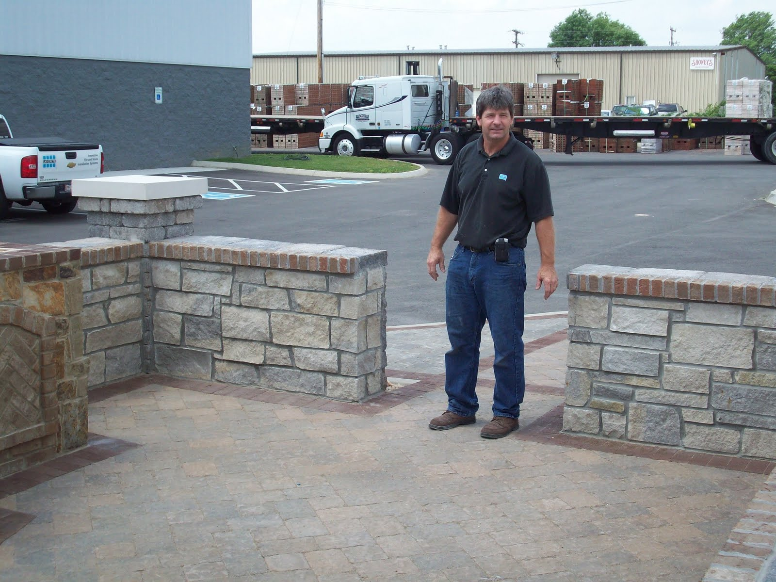 One Of Our Laticrete Guys In The Field Gary Martin At A Robinson Stone And General Shale Thin Brick Display That Was Built Front