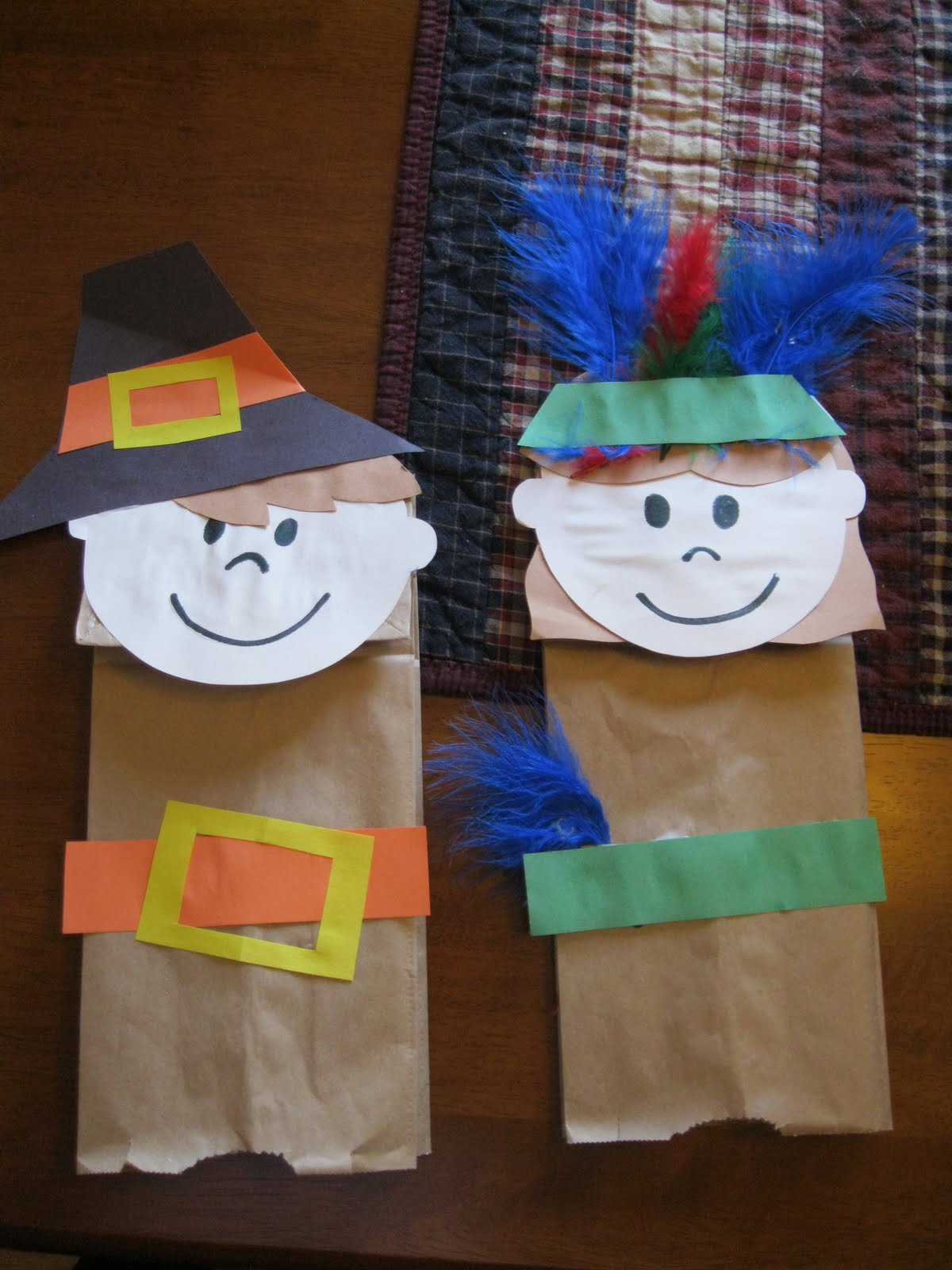 Thanksgiving Pilgrims And Indians Bag Puppet Craft