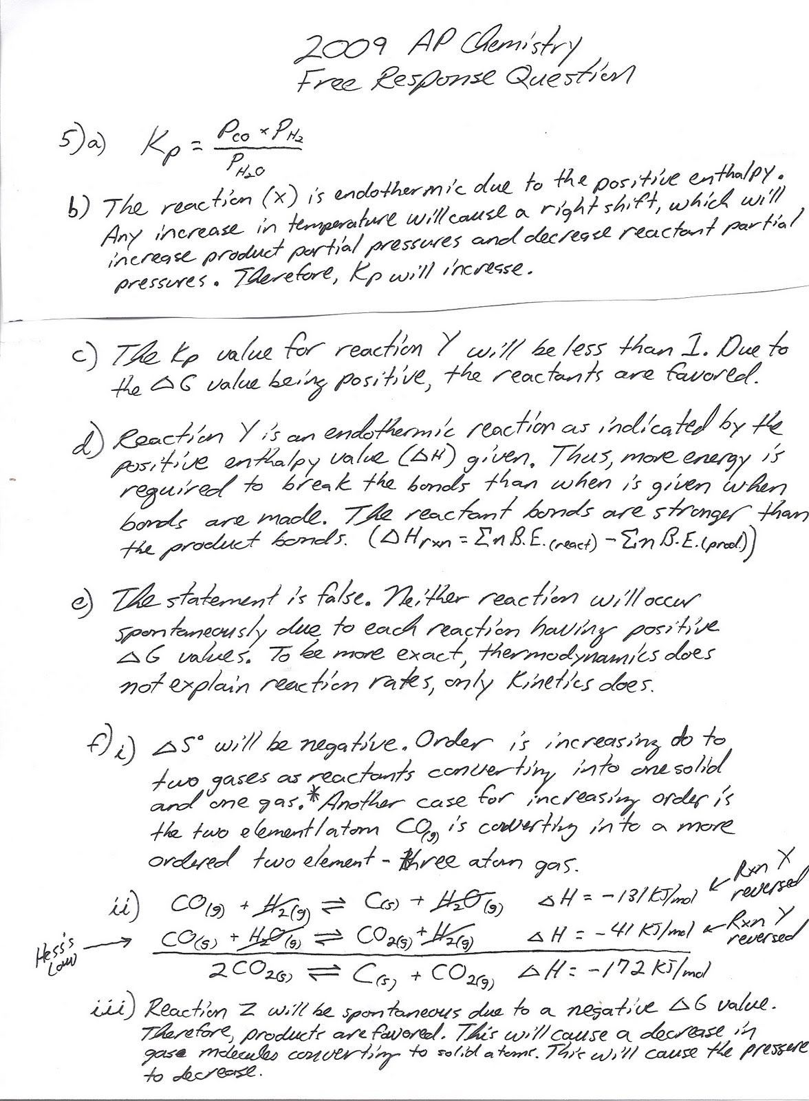 Heritage High School Ap Chemistry Thermodynamics Questions