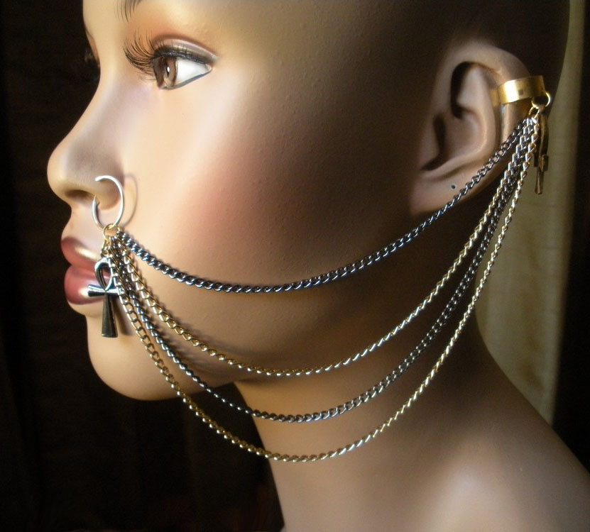New Tribal Ear to Nose Chains Available ~ Variant Soul Jewelry Ear To Nose Chain