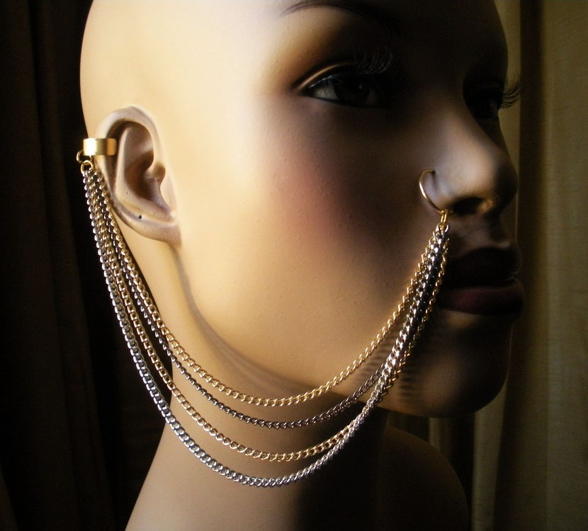 Greatest New Tribal Ear to Nose Chains Available ~ Variant Soul Jewelry LU97