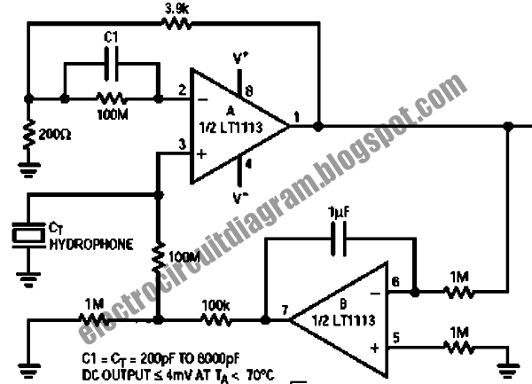 Electro Circuit Diagram: Hydrophone Pre-Amplifier Circuit