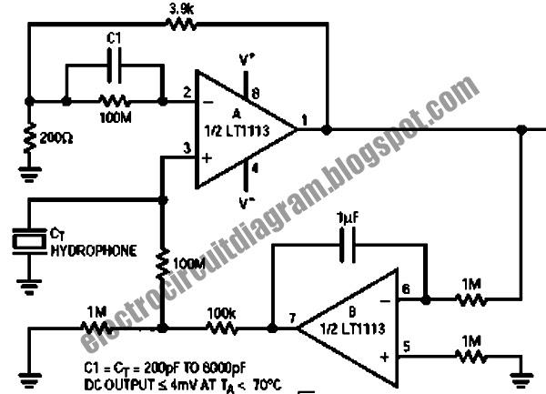Electro Circuit Diagram: Hydrophone Pre-Amplifier Circuit