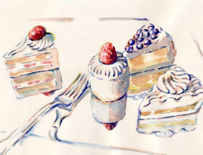 #179 Pieces of Cake Watercolor