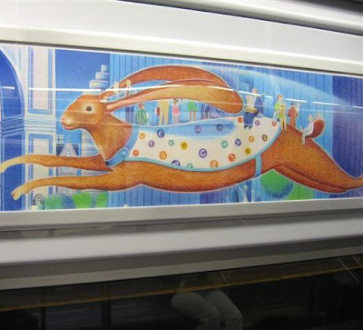 New York Bunny riding on the subway