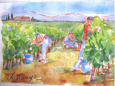 Tuscan grape pickers