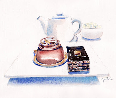 Afternoon Tea Watercolor - Paris Breakfasts