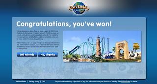 Universal Studios Ticket Winner