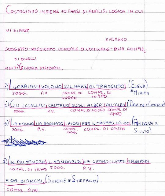 Esercizi Di Analisi Logica Per La Classe Quinta Della Scuola