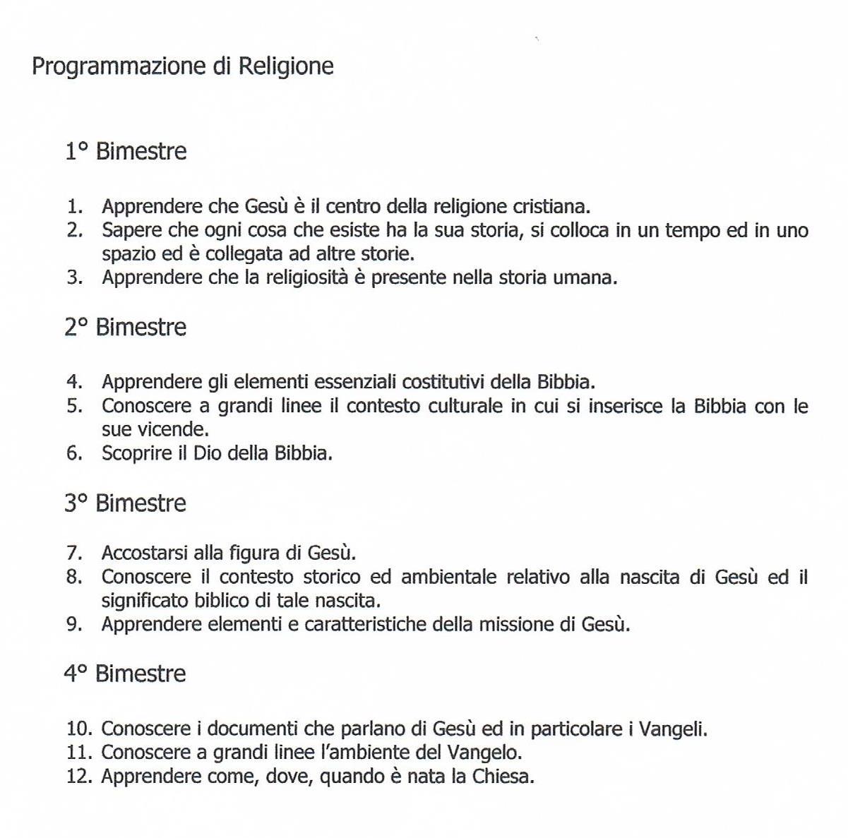 Molto Programmazione di Religione, scuola primaria, classe terza CB45