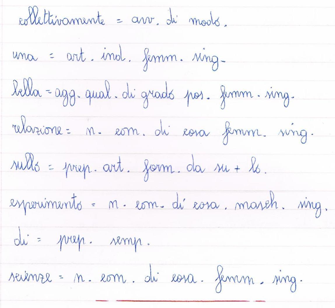 Analisi grammaticale classe quinta scuola primaria for Analisi grammaticale di diversi