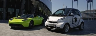 Tesla Roadster and Smart ED electric cars