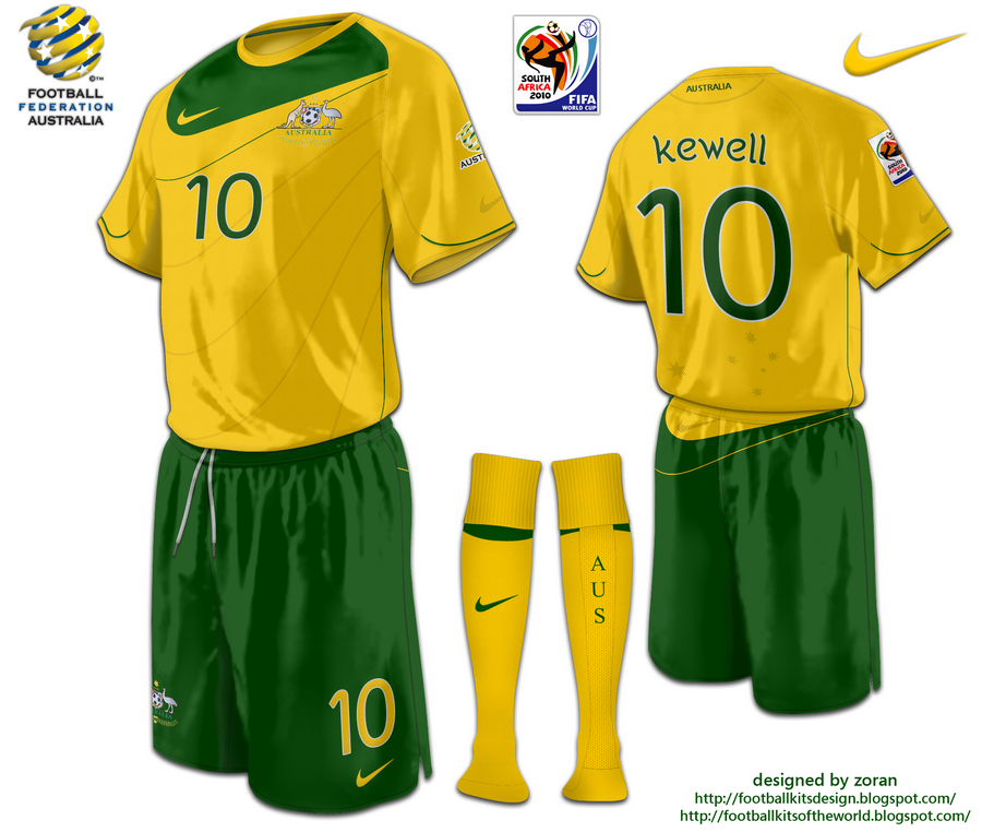 The 21th design for my World Cup 2010 project is for Australia. The design  is based on the Nike logo. The home kit is traditional yellow and green. 194e1b579