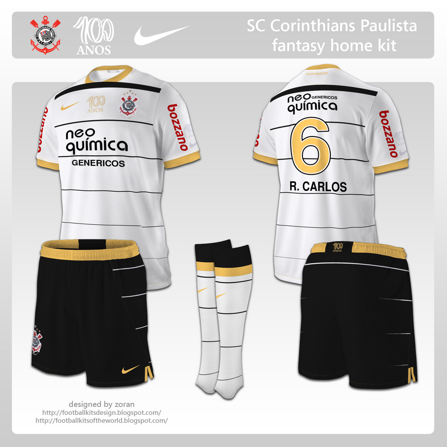 1283f464e06 Finaly something new. These designs were requested by Ronnie for the 100th  anniversary of SC Corinthians Paulista. The home kit is the classic ...