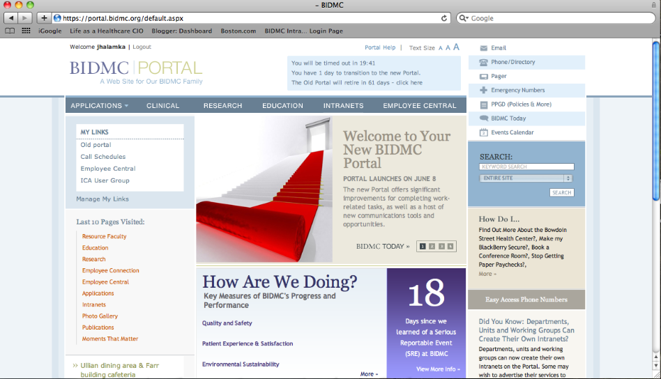Dispatch From The Digital Health Frontier A New Intranet For Bidmc