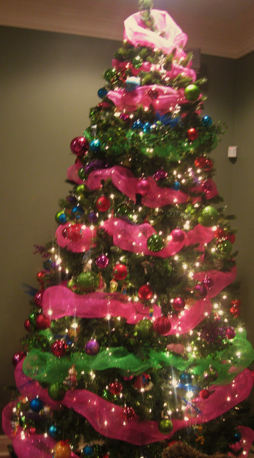 Pink And Green Christmas Tree Decorations Merry