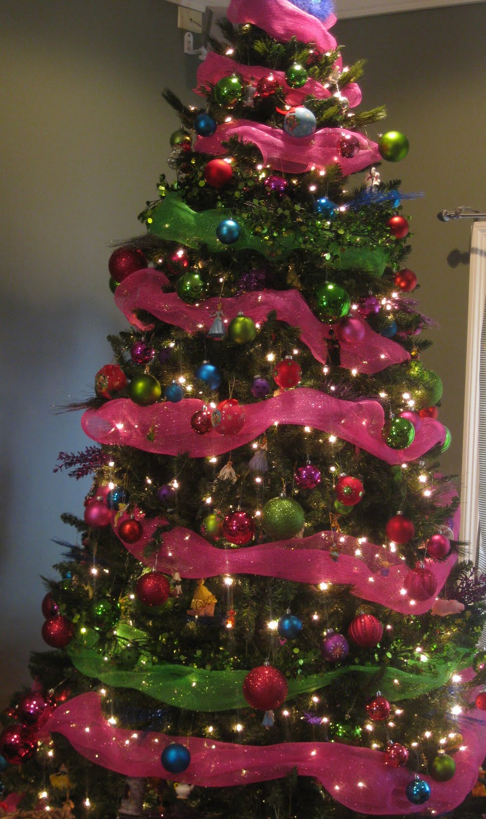 Pink And Green Mantel Christmas Tree Decor Our