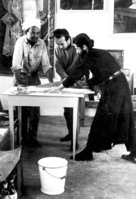 Cuviosul Paisie Aghioritul - lucrand ca tamplar la restaurarea icoanelor de la Sinai