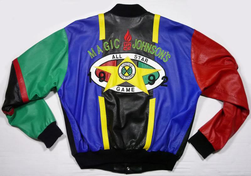 What S Vintage Vintage 1992 Cross Colour Magic Johnson Leather Jacket