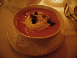 Butternut Squash Soup Cardamom Foam with the Mushroom Duxelle
