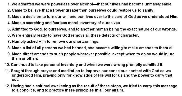 Alcoholics Anonymous 12 Step Worksheets | Fioradesignstudio