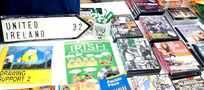 Stuff on sale at the stall at Sinn Fein's Ard Fheis