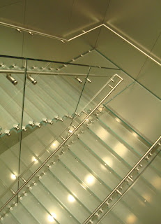 Glass staircase at back of Belfast's Apple Store