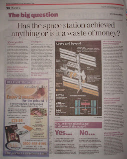 Belfast Telegraph article on International Space Station - spot the mistake in the bottom left