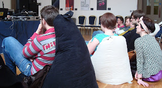 Slouching on the bean bags at a lunchtime recital in the Ulster Hall