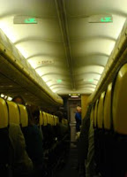 Ryanair plane with in-flight mobile phone signs illuminated