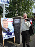 Jim Nicholson outside Belmont Primary School polling station in East Belfast