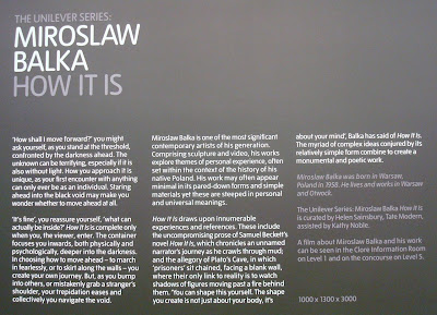Information sign about Miroslaw Balka's How It Is - Tate Modern's Turbine Hall