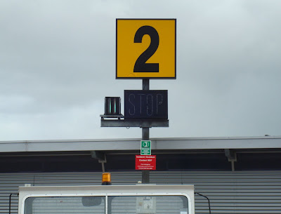 Parking alignment indicator at stands at Belfast City Airport