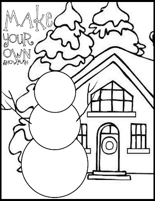 Draw your own snowman coloring page everyday mom ideas for Snowmen coloring page
