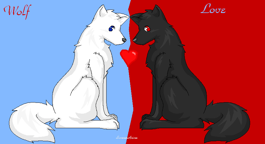 Anime wolf twins free valentines day wallpapers - Anime wolves in love ...