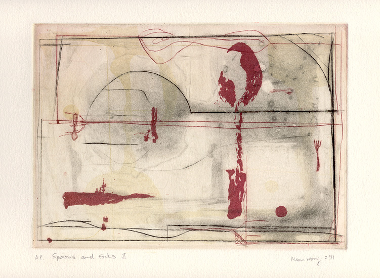 Spoons and Forks II, 1997. etching (spitbite aquatint, sugarlift) & drypoint on Arches printmaking paper. 16.2 x 22.5 cm image on 32 x 38 cm paper size