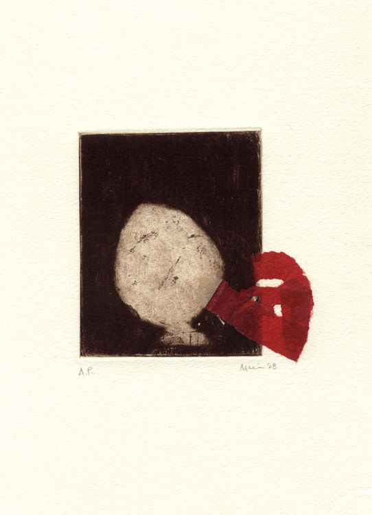 One Beginning, 2008. etching, mezzotint, drypoint & chine colle on Hahnemuhle printmaking paper. 9.5 x 9.5 cm (plate image size)