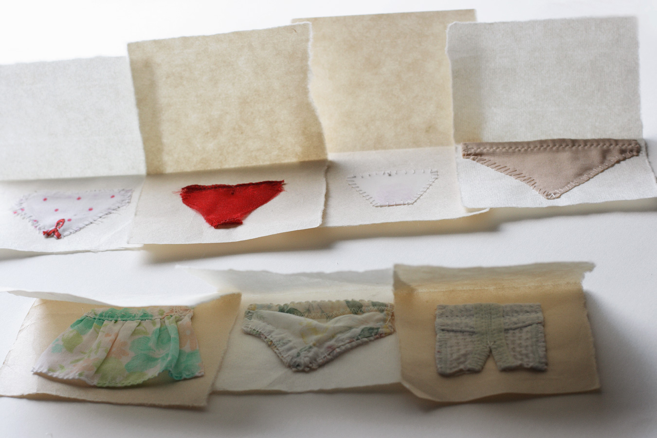 Little Undies series, ongoing. fabric & thread.