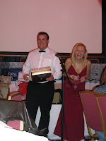 Guy Adams and Sarah Pinborough raffle off one of my corsets that I had donated