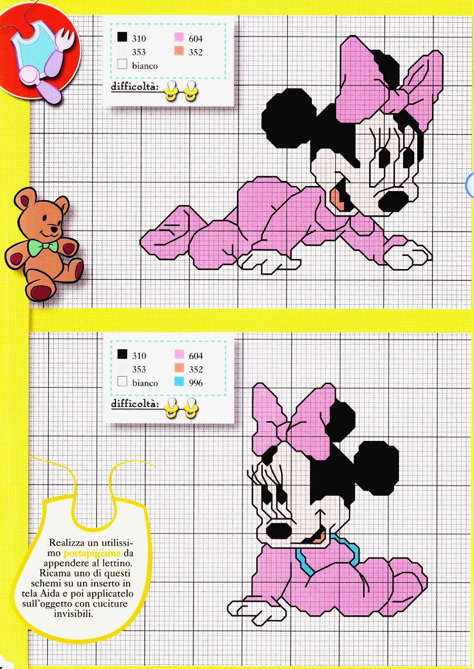 Eccezionale Sogniecoccole Schemi Gratis: Schemi Minnie Baby PX41